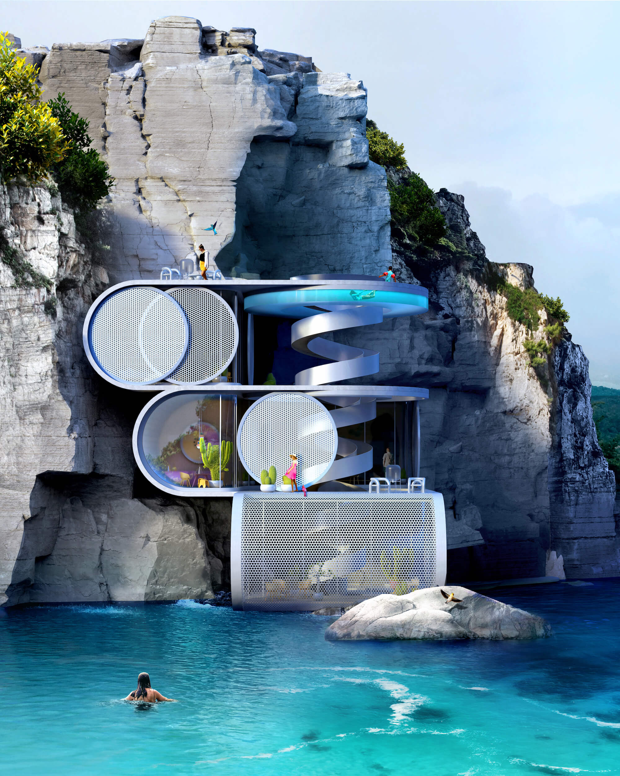 futuristic cliff house