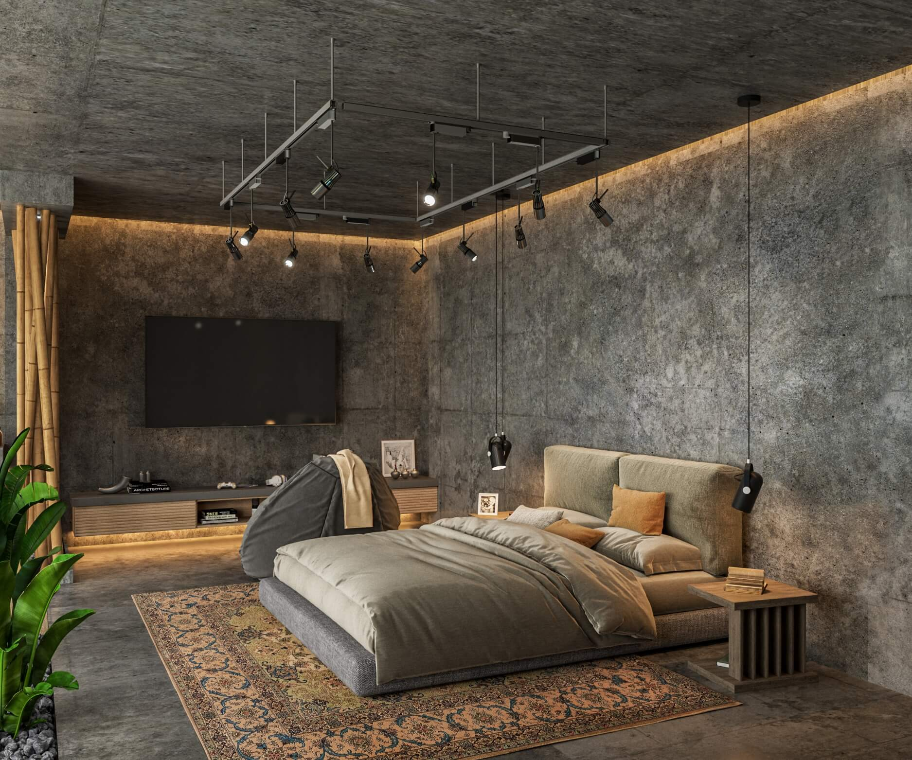 Modern Bedroom Design For A Musician By Visualization