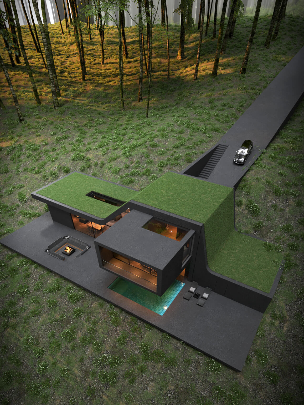 black house with green roof