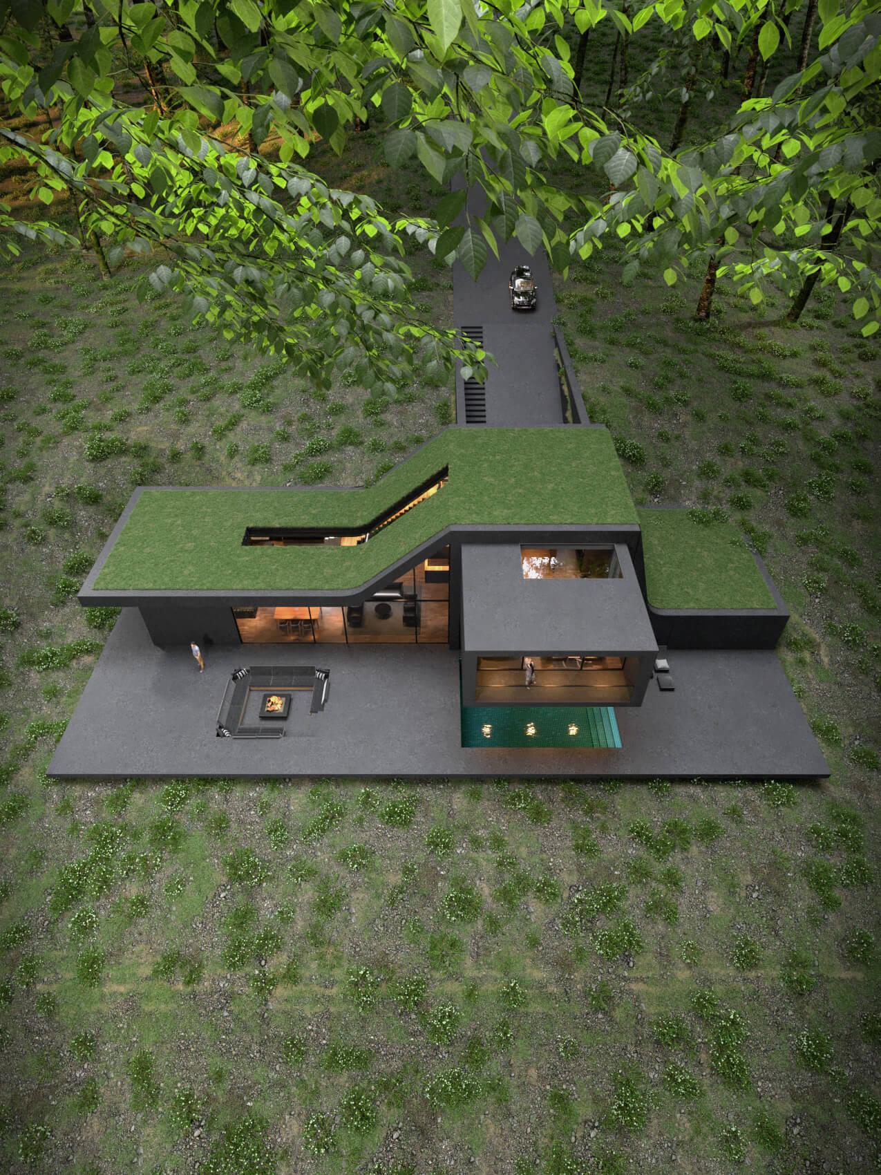 contemporary home nestled in jungle
