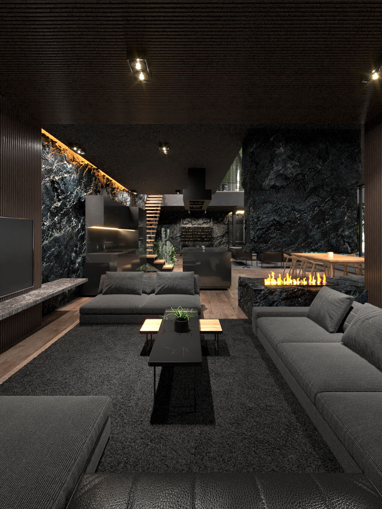black living room with luxury furniture