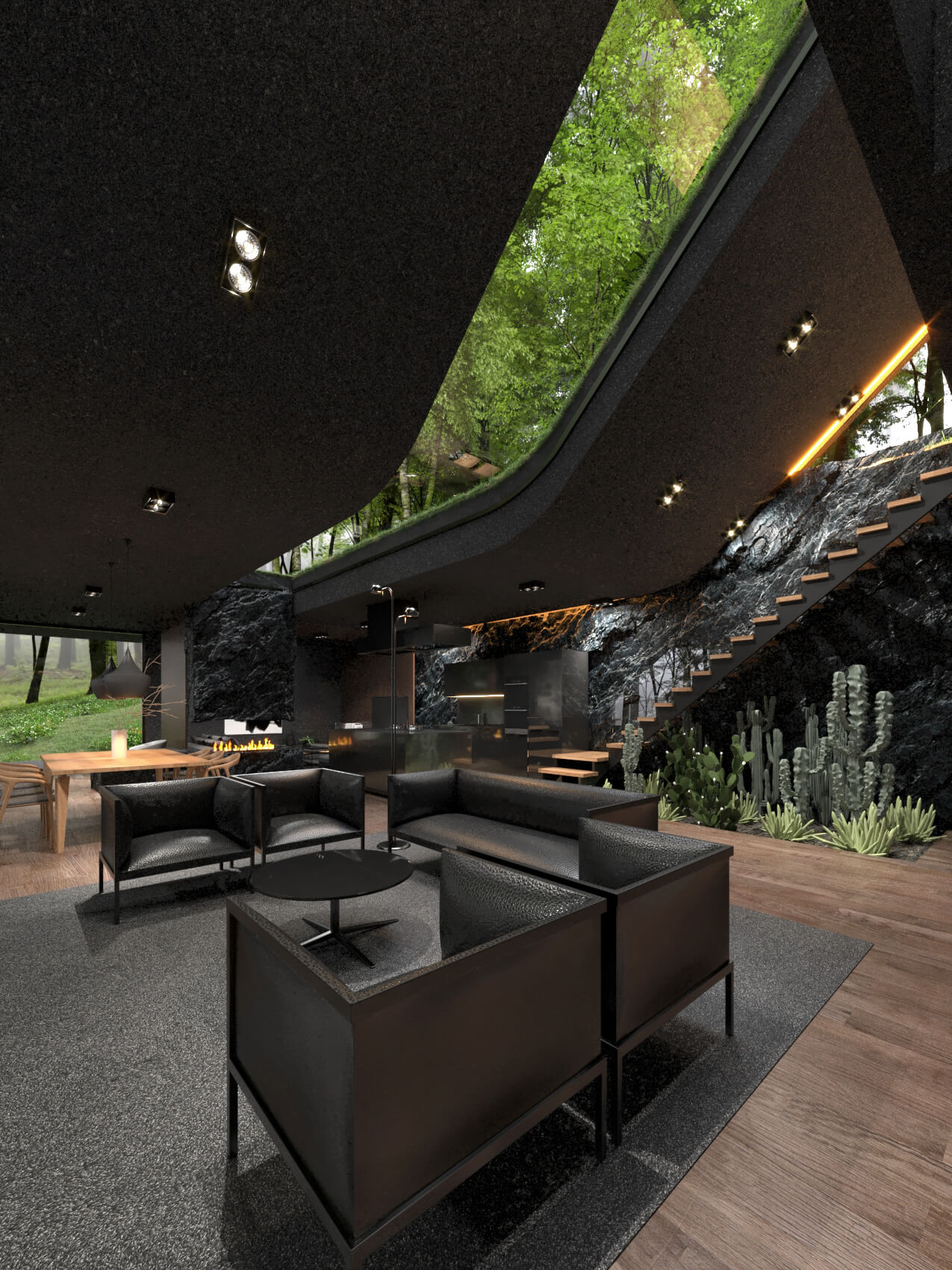 living room with fireplace and skylight