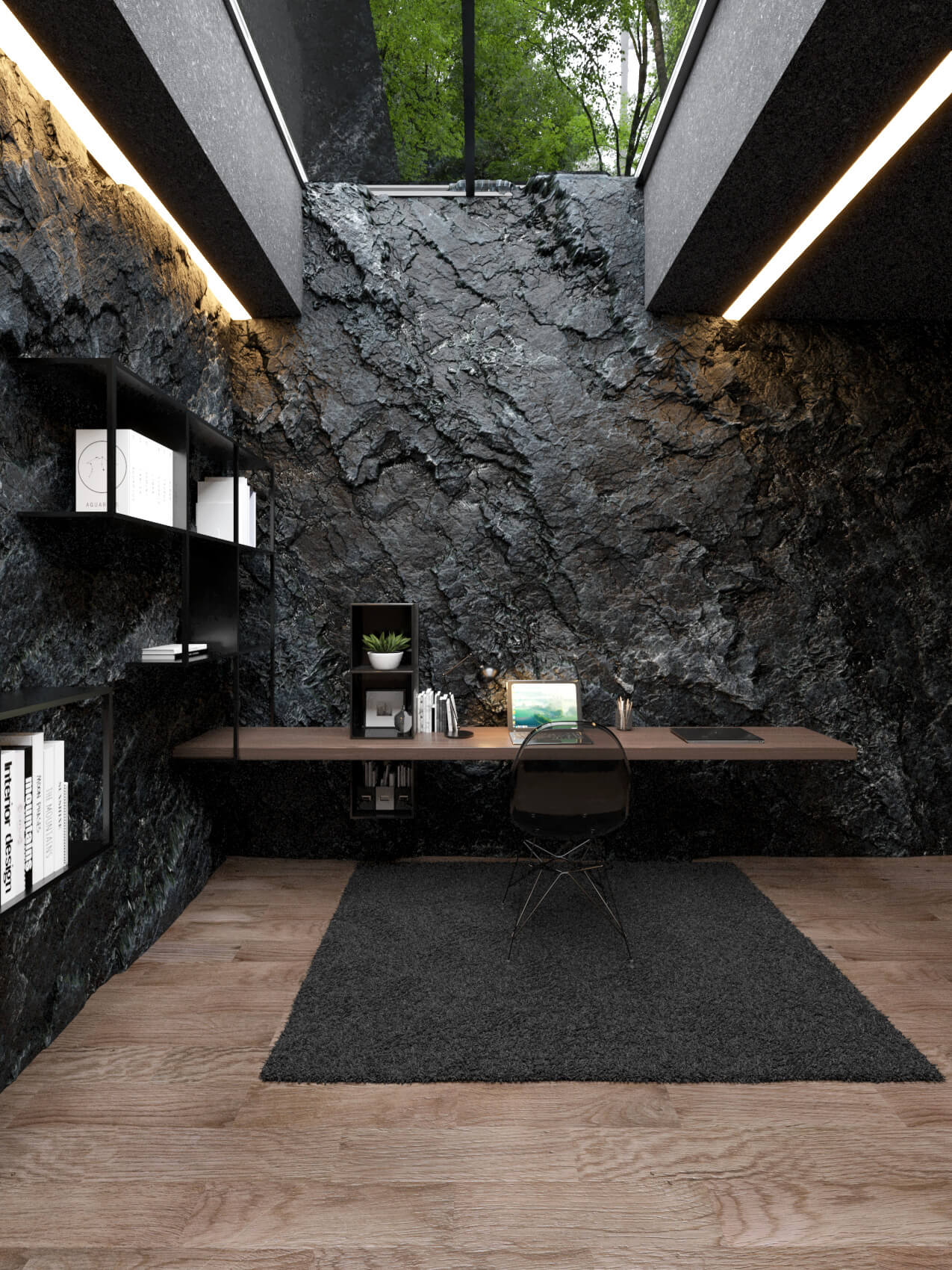 office desk and skylight in ceiling