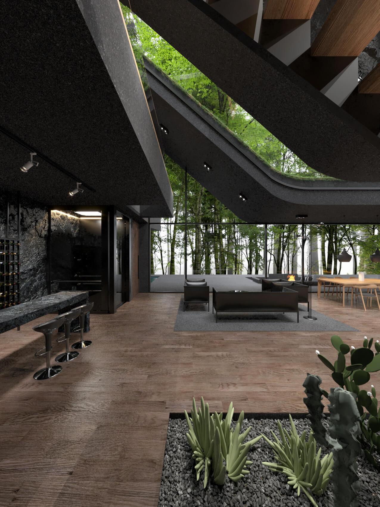indoor plants and gravel stones