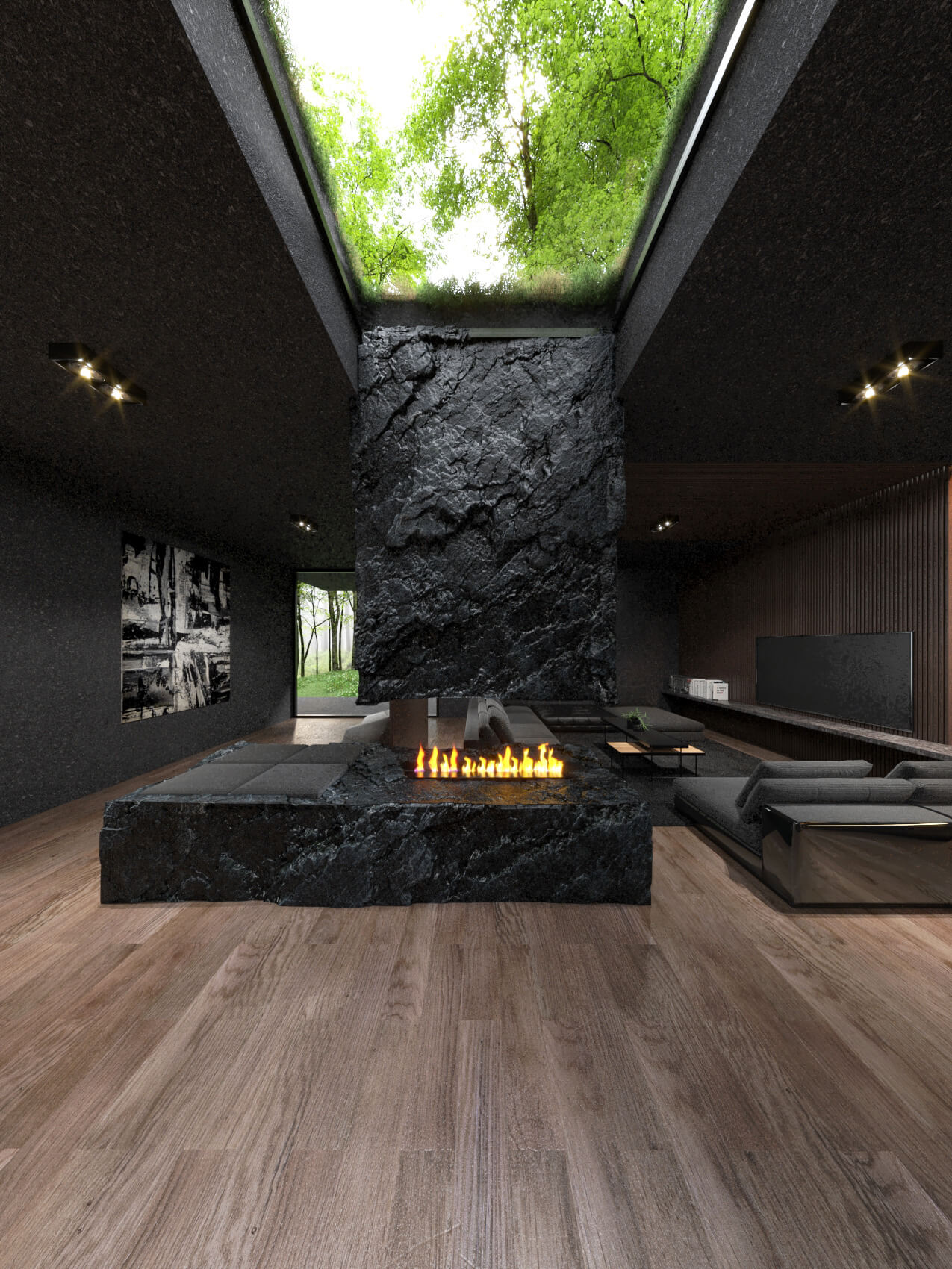 fireplace and black stone in living room