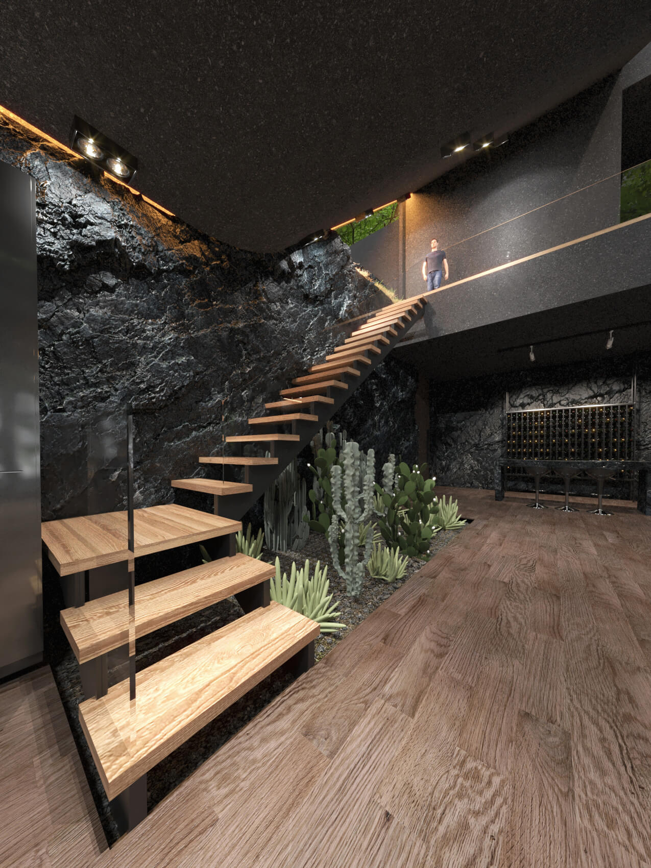 floating wooden stairs and indoor plants