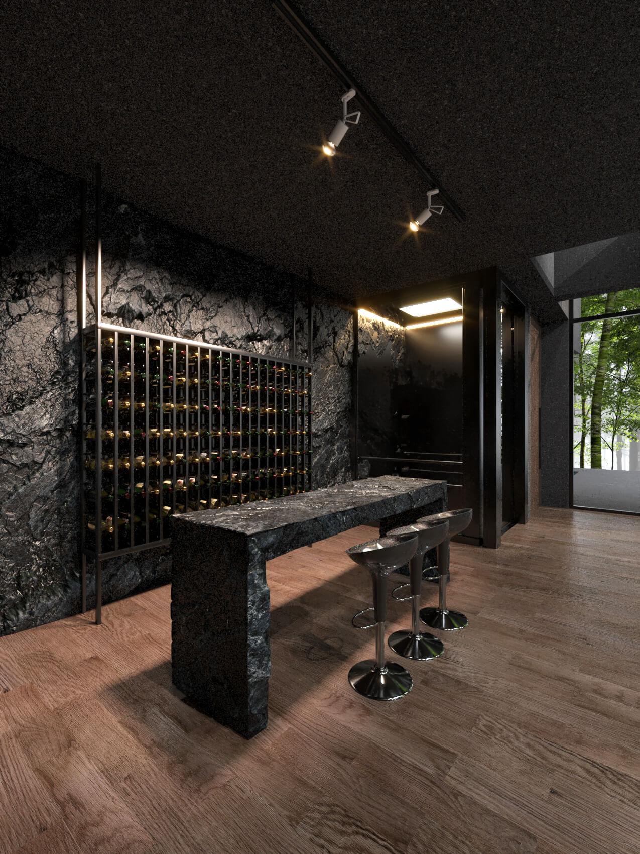 wine storage and bar stools