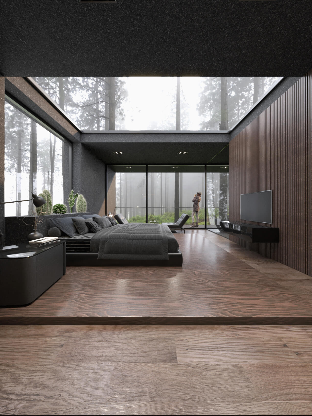 bedroom with skylight in the ceiling