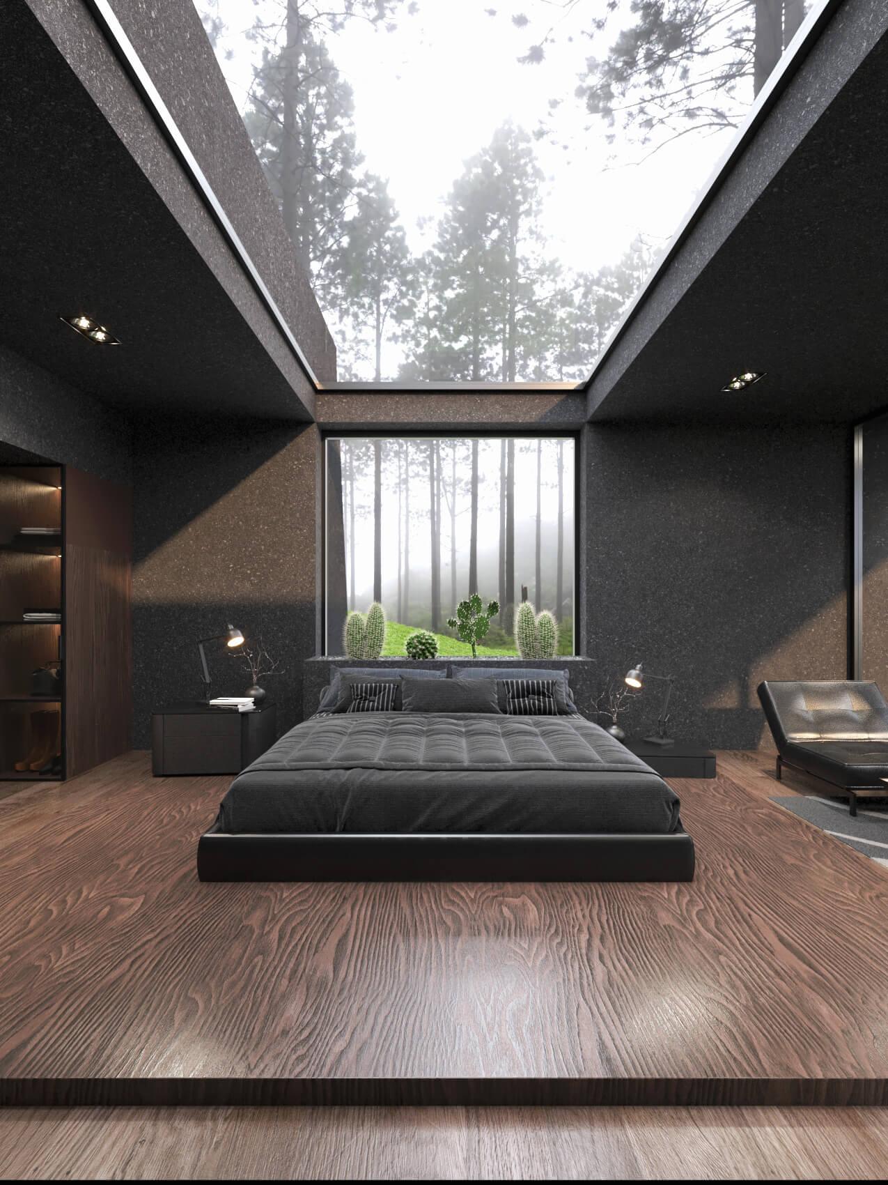 maser bedroom design with skylight