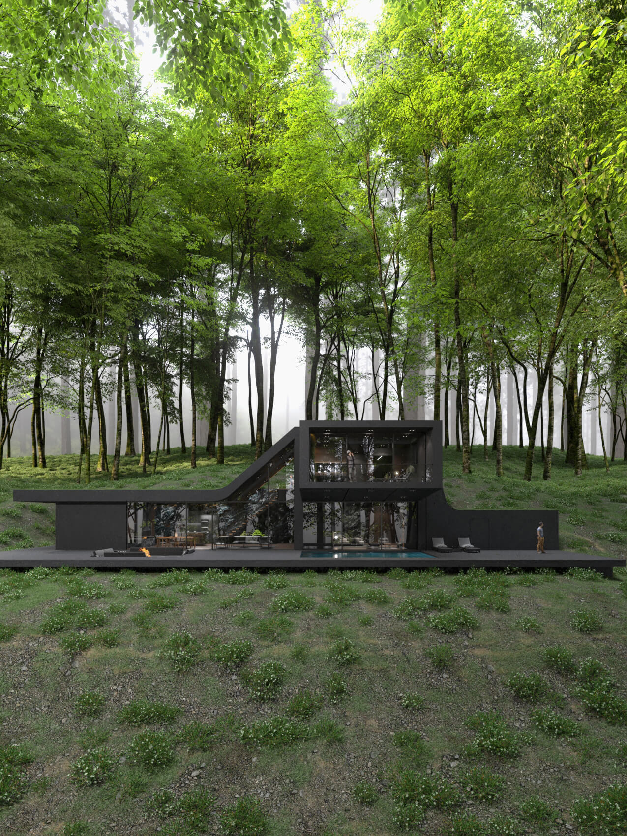 contemporary home in New York jungle