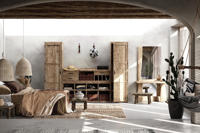 nội thất phòng ngủ mộc mạc và cổ điển