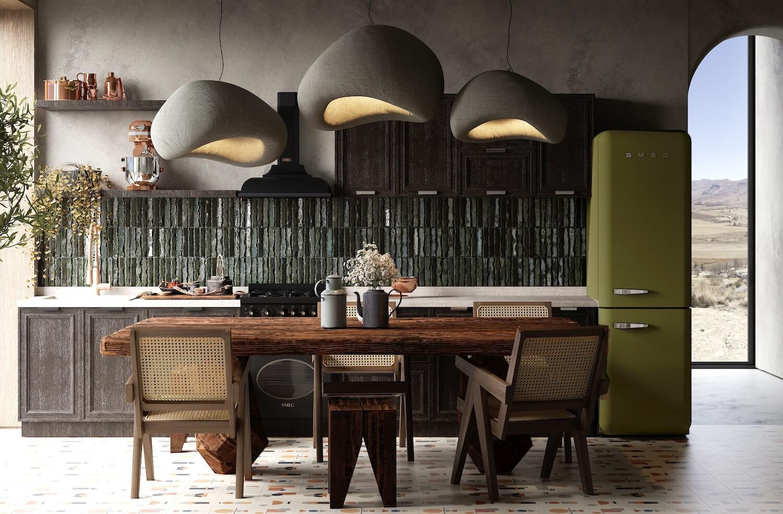thiết kế nhà bếp mộc mạc