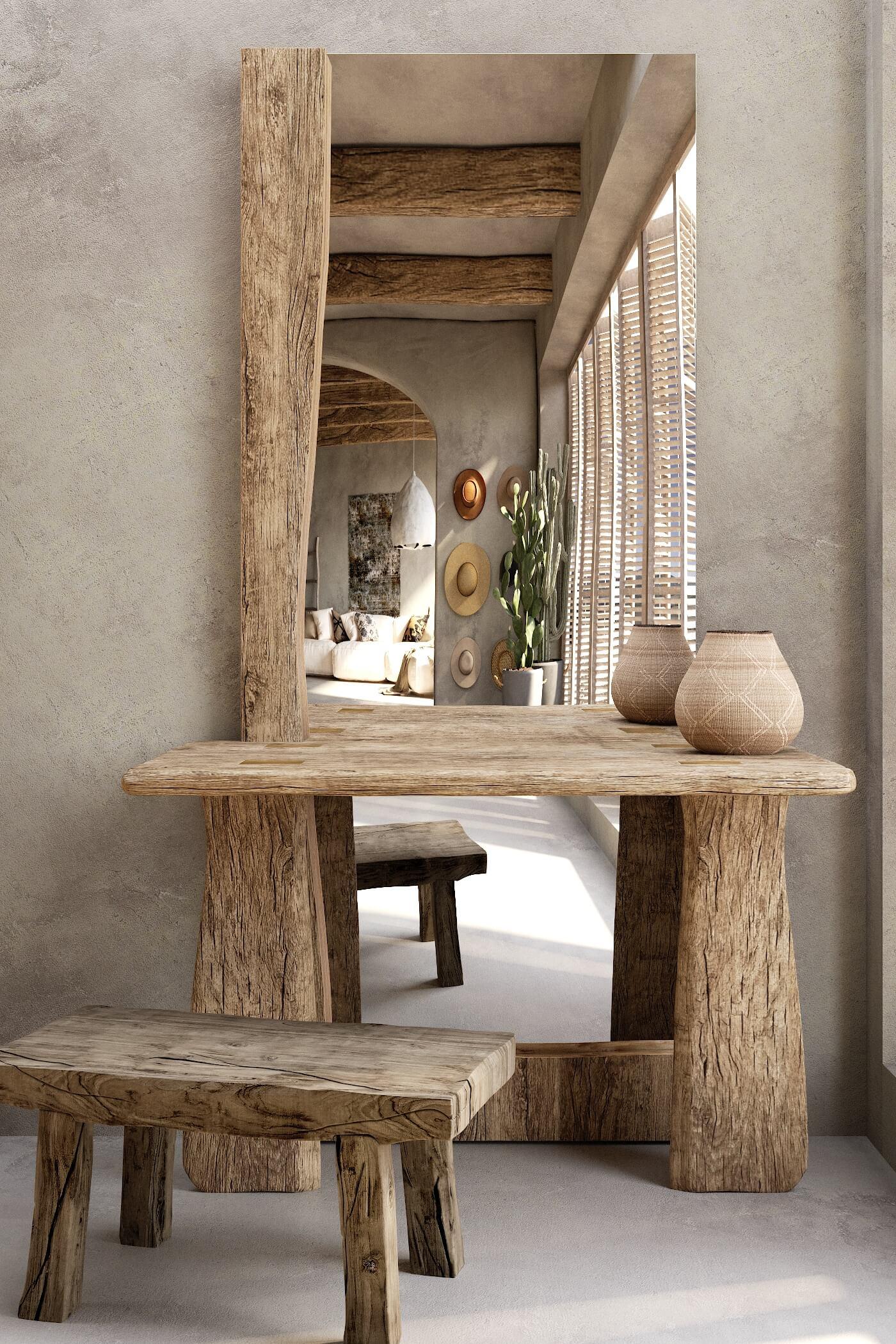 gương và ghế gỗ